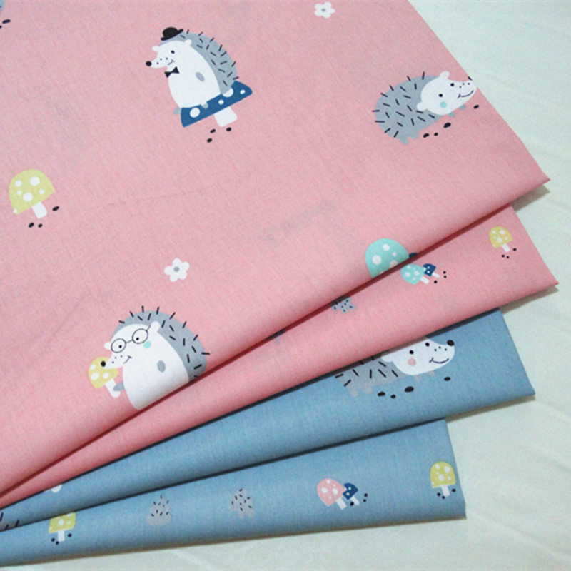 half meter hedgehog print 100% cotton twill fabric infant baby bedding cloth children bed sheet bed sack telas tecido A535