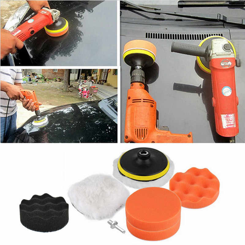 "EEN set van Duurzaam 3 ""Buffer Pad Set Kit + Boor Adapter Voor Auto polish Tool Car Care Kit automotive Zorg Levert Auto Car cleaning"