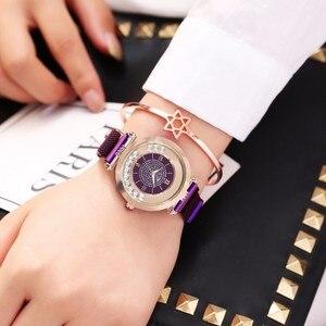 Image 4 - ホットファッション女性マグネットバックルフルダイヤモンドの腕時計高級レディースステンレス鋼クォーツラインストーン腕時計時計レロジオ Feminino