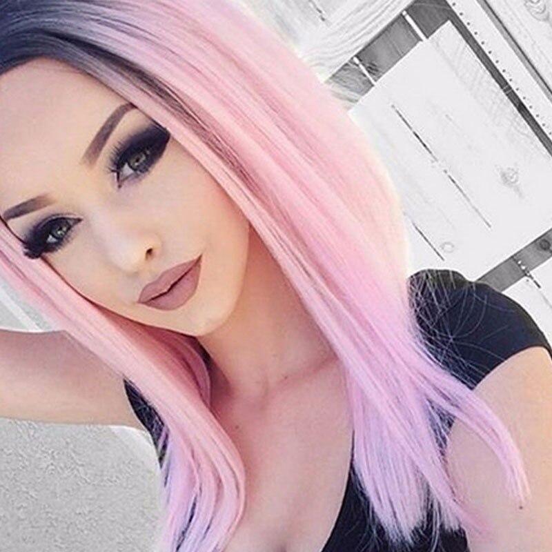 Details Zu Neu Schwarz Rosa Farbverlauf Kurze Haare Bobo Gerade Synthetische Perucke Frisur