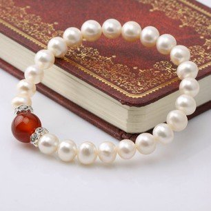 Nice Pearl Quality Standard Elastic 7-8mm Fresh Water Pearl Bracelet, Fashion Jewelry New Arrival on Sale, 10 pcs/lot