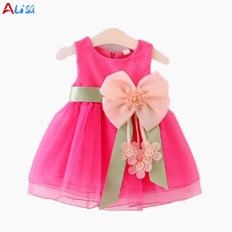 Kids Baby Girls Sleeveless bowknot flower Party gauze dress