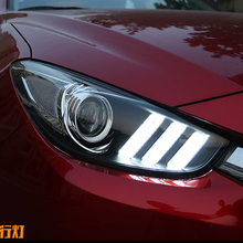 Car Styling for 2017-2019 Axela LED Headlights Axela LED Lens Double Beam H7 HID Xenon bi xenon lens day light running led 2017 2018 mazd 3 axela daytime light axela fog light axela headlight tribute rx 7 rx 8 protege mx 3 miata cx4 axela