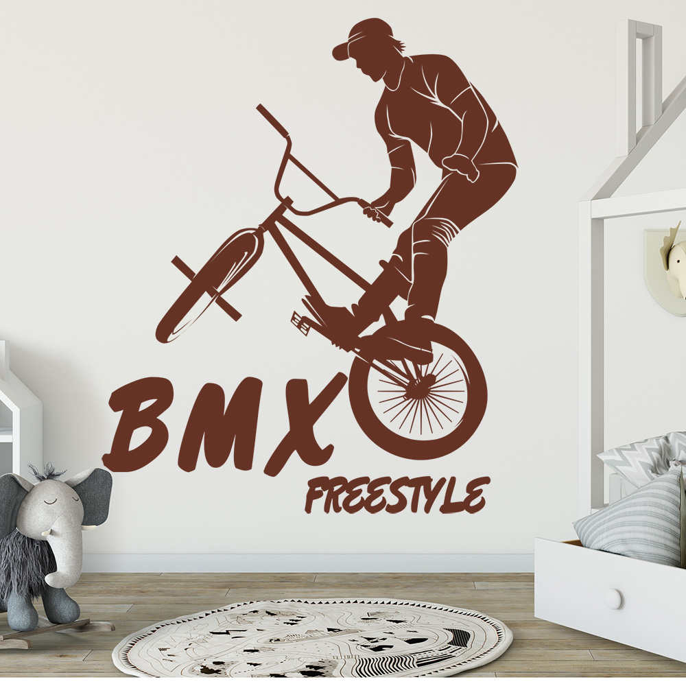 CYCLING WALL STICKER 3D LOOK BOYS KIDS BEDROOM EXTREME SPORT WALL DECAL Z777