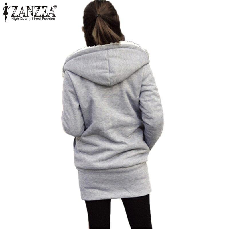 88e31612b45 ZANZEA 2017 Womens Hoodies Overcoat Winter Warm Fleece Coat Zip Up  Outerwear Hooded Sweatshirts Long Jacket Parka Plus Size 3XL-in Hoodies    Sweatshirts ...