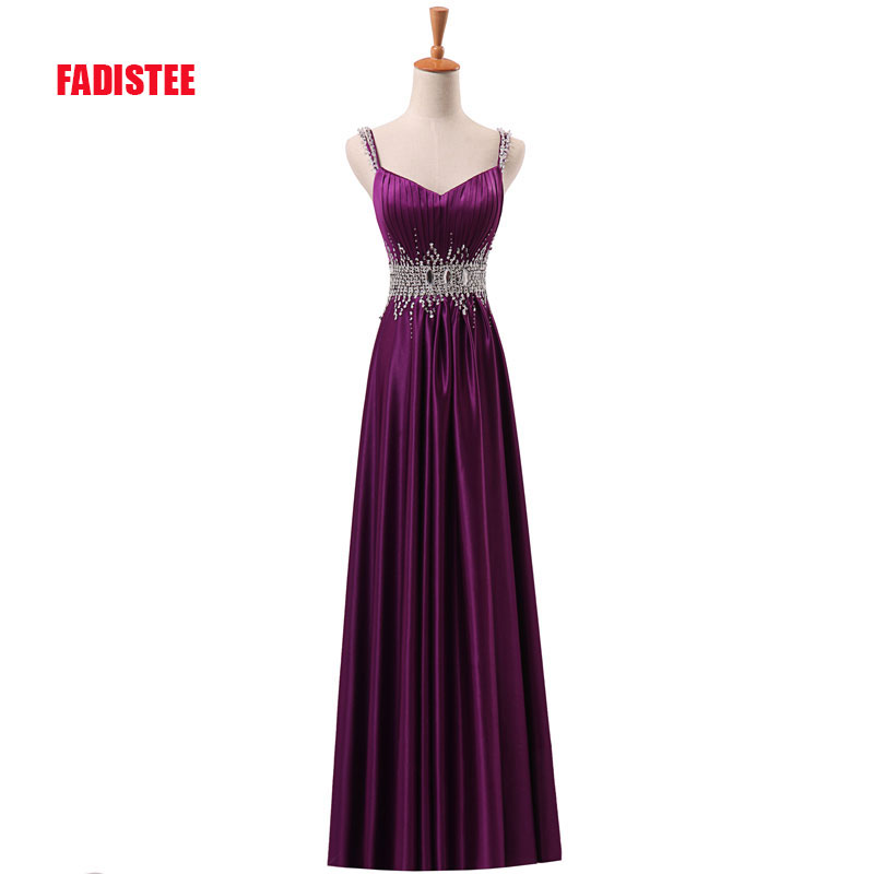 FADISTEE New arrive party   prom     dress   Vestido de Festa A-line luxury beading V-neck pleat satin long gown with zipper