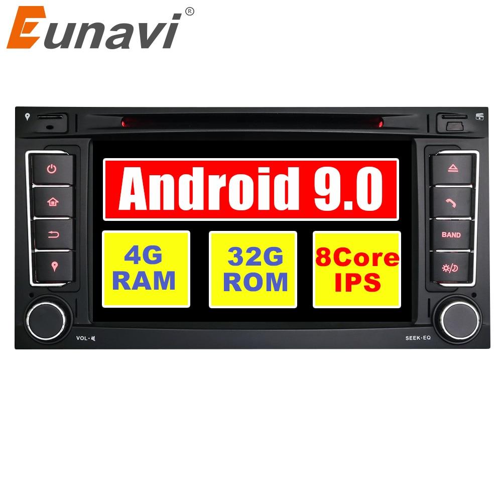 Eunavi 2 Din 7 ''Android 9.0 Car DVD Player GPS Navi Para VW Volkswagen Touareg Transporter T5 Com Canbus wifi Rádio FM Estéreo
