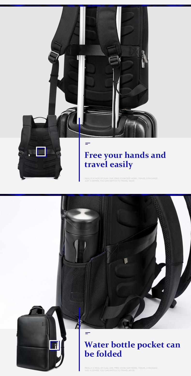 18 BOPAI Brand waterproof 15 inch laptop backpack men backpacks for teenager girls black leather male school backpack bag men 7