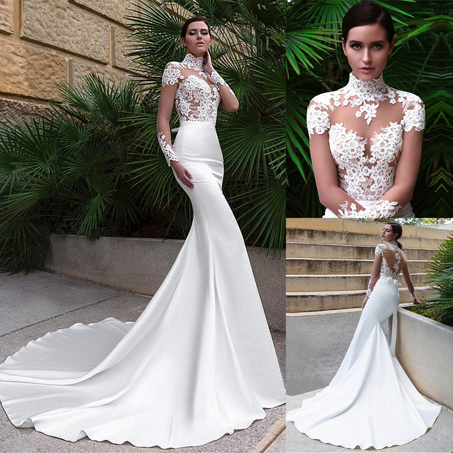 Wonderful Tulle & Satin Illusion High Neckline Mermaid Wedding Dresses With Lace Appliques