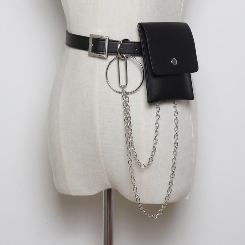 Punk Leather Waist Belt Body Chain Adjustable Waist Strap with Link Tassel