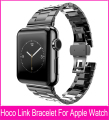 Three Pointers Model Slimfit Steel Black Link Bracelet Watchband For Apple Watch 42mm 38mm With Great double Butterfly Button