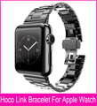 Tres punteros modelo Slimfit acero negro enlace pulsera correa para Apple reloj 42 mm 38 mm con gran doble mariposa