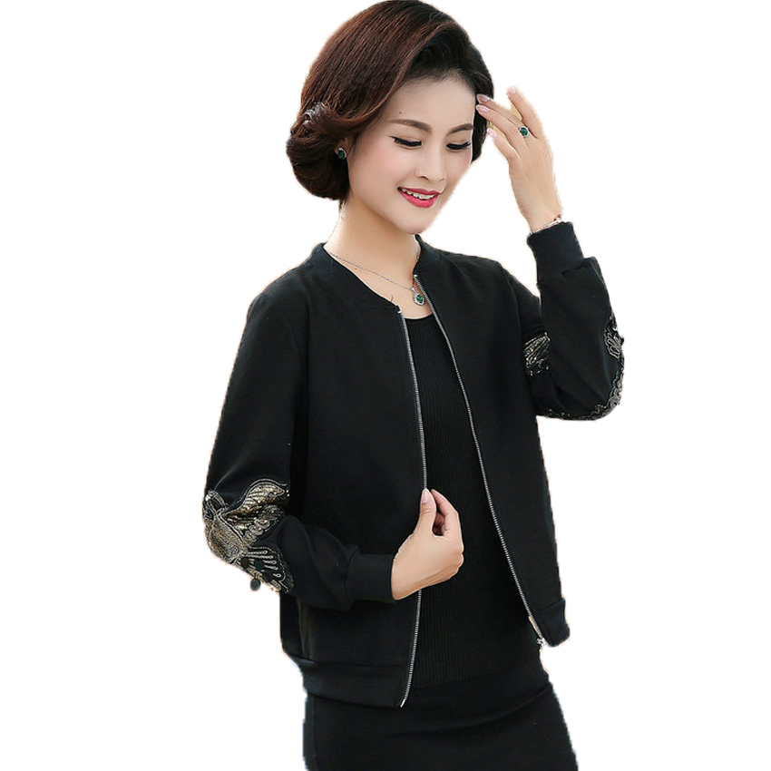 WAEOLSA Womens Casual Bomber Jacket Middle Aged Woman Black Short Coat Embroidery Outerwear Autumn Mother Jacket Zipper Front
