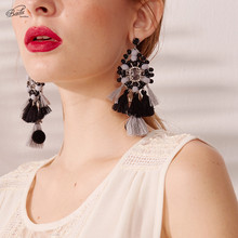 Badu Women Earring Hyperbole Fringed Long Drop Earrings Baroque Crystals Exclusive Design Tassel Accessories Winter Jewelry