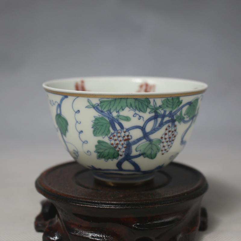 3 Antique MingDynasty porcelain bowl,blue &color grape cup,Hand painted crafts,Collection&Adornment,Free shipping