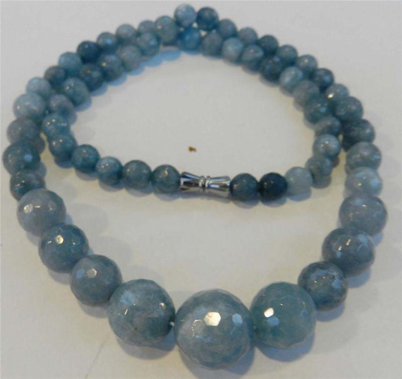 6-14mm Brazilian Aquamarine Faceted Gems Round Beads Necklace