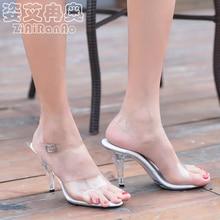 Sommer Transparentem Kristall Schuhe Frau 7 CM 10 CM Flach partei High Heels Big Size Damen Pumps Schnalle frauen sandalen