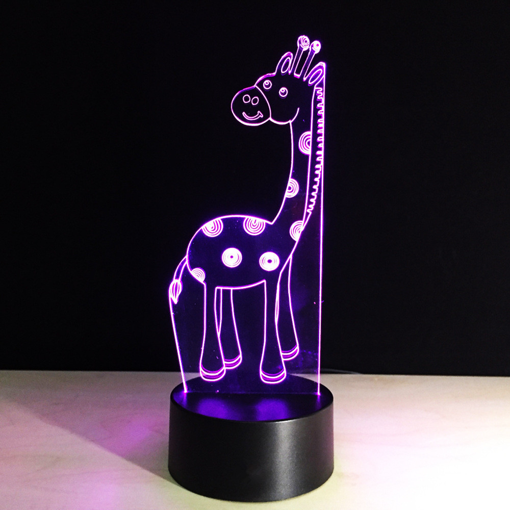 3D Led Giraffe Lamp 7 Color Night Lights USB Deer Table Lampara Lampe Baby Bedside Sleeping Lighting Novelty Christmas Kids Gift