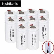 Nightkonic 10 шт. или 12 шт. аккумулятор SC 2200 мАч перезаряжаемые subc батарея 1,2 В С tab для makita dewalt bosch