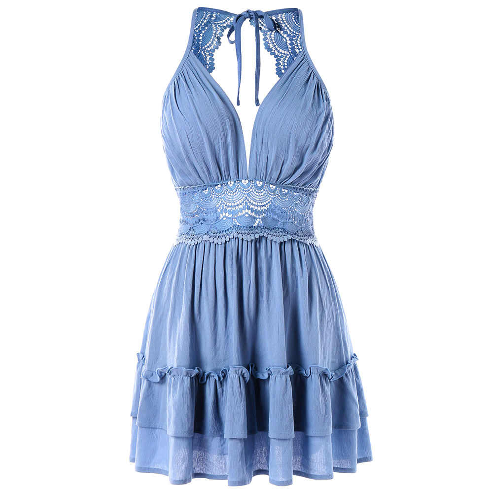 d39e68cdc8d Wipalo Sexy Plunging Neck Ruffle Back Cut Out Crochet Insert Mini Dresses  Summer Club Party Dress