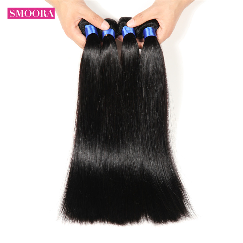 Straight  4 Bundles Deal 100% Natural Black  s Straight  Mix length Non-remy 3