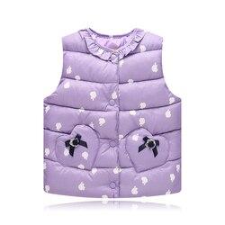 Зимний хлопковый жилет для маленьких девочек детская одежда розничная продажа, тонкие жилеты верхняя одежда без рукавов для девочек Детска...