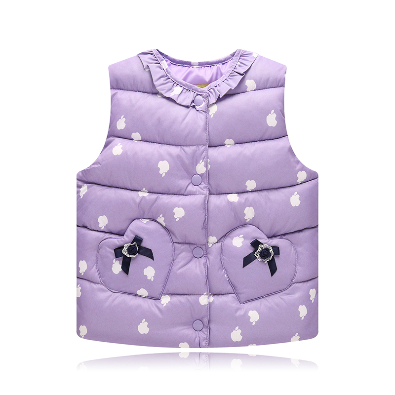 Baby Girls Winter Cotton Vest Children's Clothing Retail Top Thin Waistcoats Stand Girls Seeveless Outerwear Kids Vest for Girl