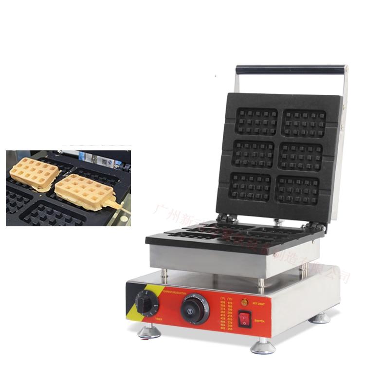Free shipping~110V 220V Electric 6 pcs Square shape waffle machine cake baker free shipping 1m pcs flat shape clear