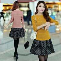 New2017 autumn and winter dress one piece plus size loose knitted sweater dresses big size elegant Set auger dress