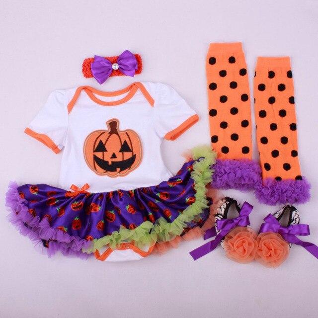 9fbef47e09bd 4PCs per Set Baby Girls' Halloween Orange Pumpkin Tutu Dress Infant Costume  Outfit Headband Shoes Leg Warmers