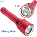 NEW 3x L2 Led diving flashlight linternas underwater diving 100M Waterproof 5000 lumens Promise dimming LED flashlight torch