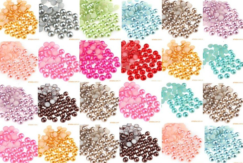 10000pcs/bag COLORFUL 4mm ABS Half flat Round Pearls beads Garment Accessory Beads,card making & scrapbooking DIY products