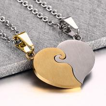 2 Pcs/Pair His And Hers Matching Heart Stainless Steel Pendant Love Heart Engraved Necklace For Couples Lovers