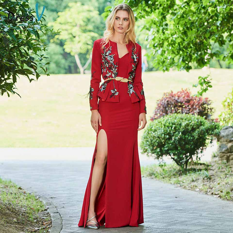 Dressv Dark Red Mother Of Bride Dress Mermaid Long Sleeves Appliques Sashes Long Mother Trumpet Evening Gown Dresses Custom