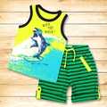 Meney's Children Set Vest + Shorts Set O Neck Cartoon Print Letter Pattern Cotton Suit Kids Summer Clothes Boys