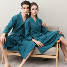 Summer Cotton Towel Bath Robe Dressing Gown Unisex Men Women Waffle Sle