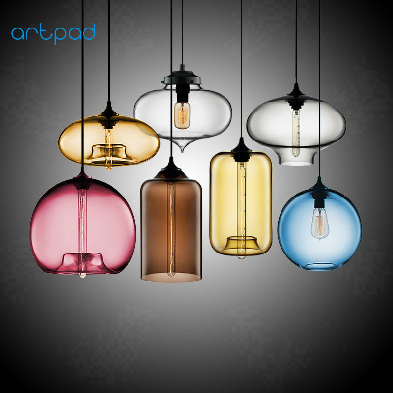 Artpad Northern Europe Small Colorful Glass Pendant Lamp kitchen Living Room Bar Coffee Room Home lightings Fixtures