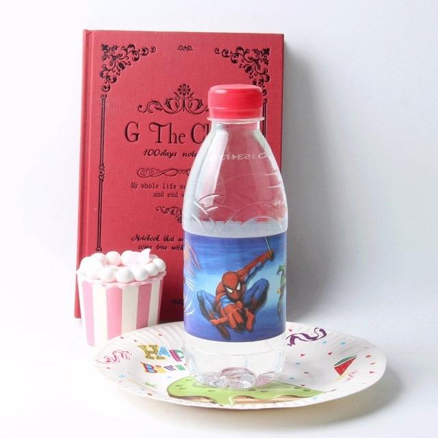 12pcslot Spiderman Bottle Label Beauty Beast Baby Shower Water
