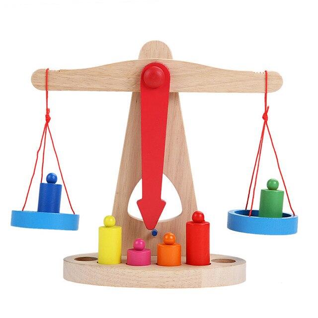 2016 Новое Поступление Монтессори Развивающие Игрушки Небольшой Деревянный Новый Весах Игрушка С 6 Весов Для Детей