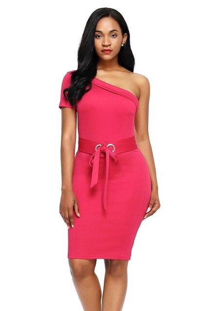 4cd185424499 € 27.98  Sexi del club de Un Hombro Vestido Ajustado con cinturón mujeres  back zipper Partido Del Club de Noche Vestidos de noche del lápiz mini ...