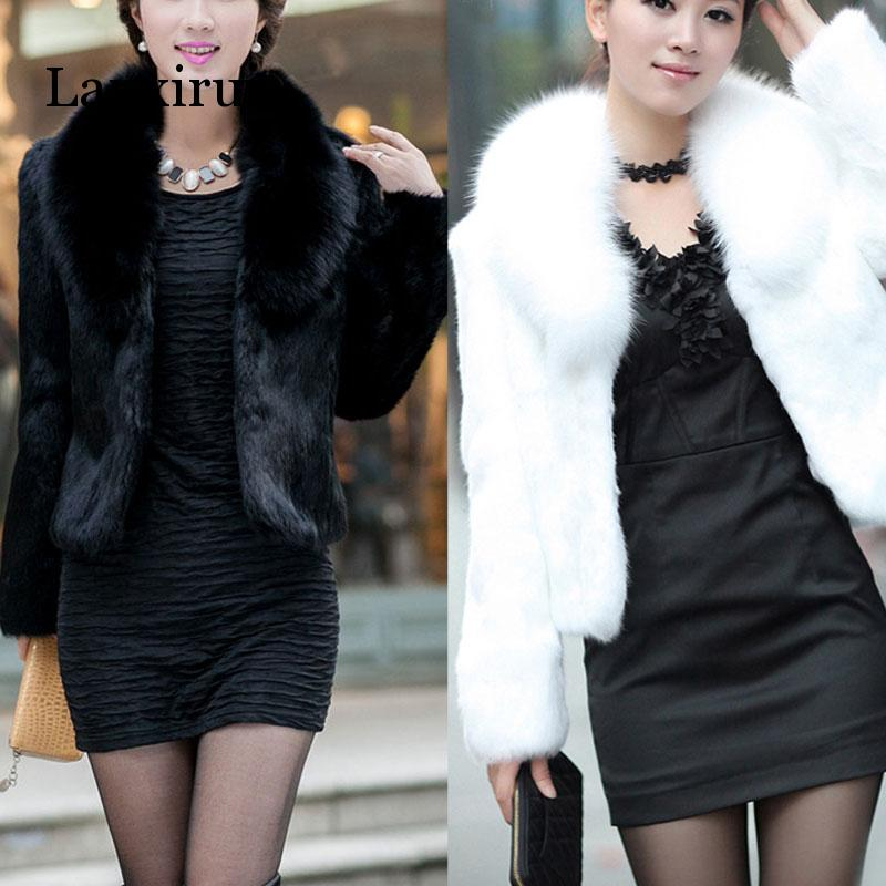 Elegant Faux Fur Coat Thicken Warm Outwear Women Winter New Fur Jacket Coat Long Sleeve White Black Plus Size Fur Coat 3XL