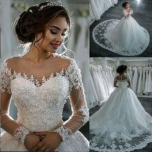 Robe De Mariage Baljurk Trouwjurk 2018 Lange Mouwen Huid Tulle Bruidsjurken Luxe Kralen Bruid Jurken Vestido De novia