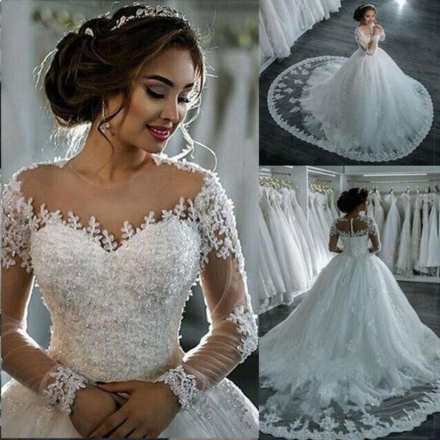 Robe de mariage vestido de Baile Vestido de Noiva 2018 Mangas Compridas Pele de Tule Vestidos De Casamento De Luxo Frisada Vestidos de Noiva Vestido de novia