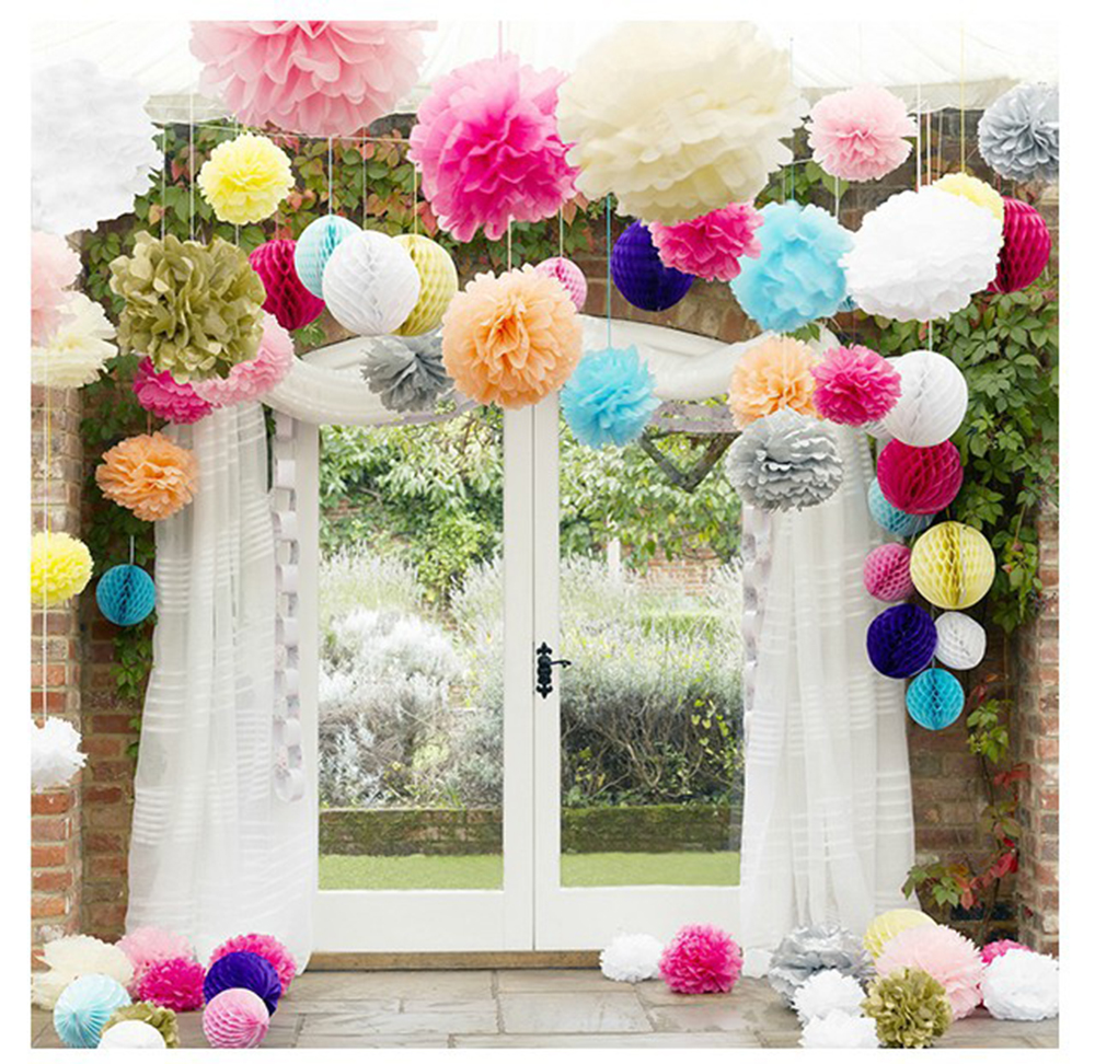 Online get cheap paper flower ball aliexpress alibaba group 25 pcs lot 10inch 25cm handmade pom poms wedding diy colorful paper flower ball pom poms dhlflorist Image collections