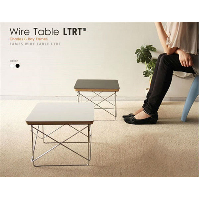 Hot sales Tea table Wire Base coffee Table simple LTR end table Modern Small coffee table in livingroom The explosion side table creative tea table toughened glass tea table the oval table of the lacquer that bake small tea table