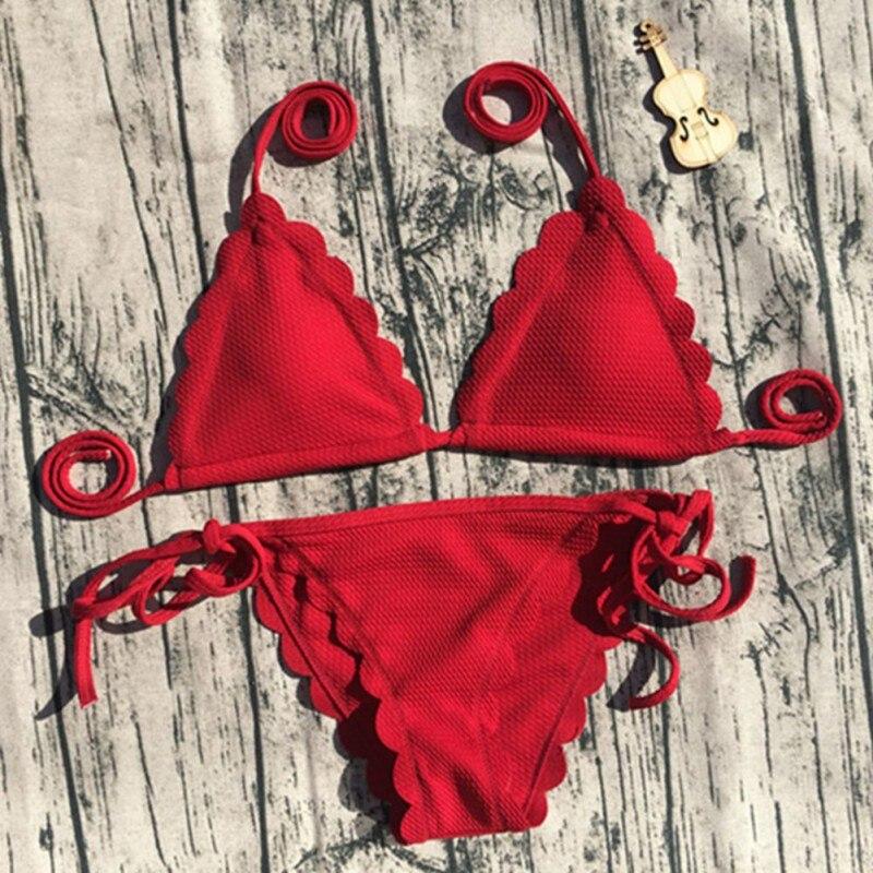 Swimwear Women Brazilian Bikini Sets Lace Bikini Cut Solid Bandage Bathing Suit Push Up Swimsuit Beach Biquinis 2018 New Sexy