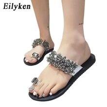 eab73084975e15 Eilyken Summer Flower Crystal Flat Slippers Sexy Casual Fashion Female  Beach Flip flops Women Grey Black Sandals Slides
