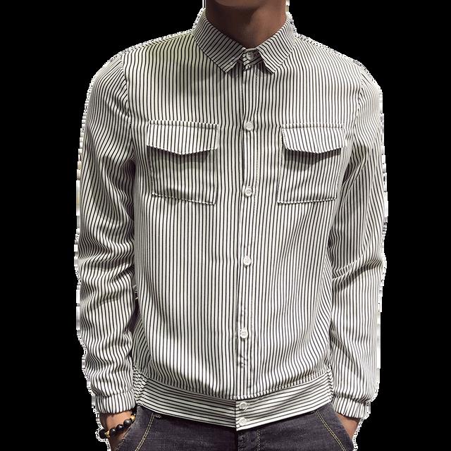 Moda auto-cultivación rayas verticales solapa delgada camisa de los hombres 2018  otoño Casual Slim e48e2852a53