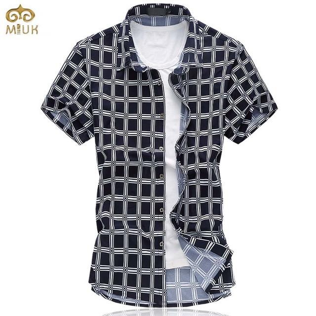 Super grande tamanho xadrez 6xl 5xl chemise homme algodão marca clothing havaiano camisa masculina dos homens camisa de vestido de verão 2017 nova