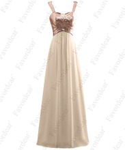 Favordear Prom Dress A Line Backless Rose Gold Sequin Chiffon Bridesmaid  Gowns New Arrival(China 779e1f227791